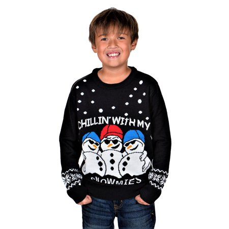 KESIS Children Chillin With Snowmies Ugly Christmas Sweater - Ugly Christmas Sweaters For Kids