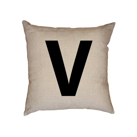 Monogrammed Throw Pillows (Monogram - V - Letter in Stately Black Decorative Linen Throw Cushion Pillow Case with Insert)