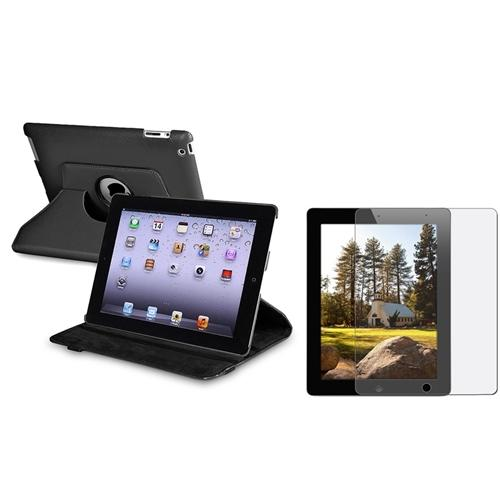Insten Black 360 Rotating Leather Case Pouch+Anti-Glare Guard for iPad 4 4G /3 3G/2 2G (Supports Auto Sleep/Wake)