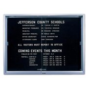 S Series Black Felt Bulletin Board w Sliding Glass Doors (36 in. x 48 in.)