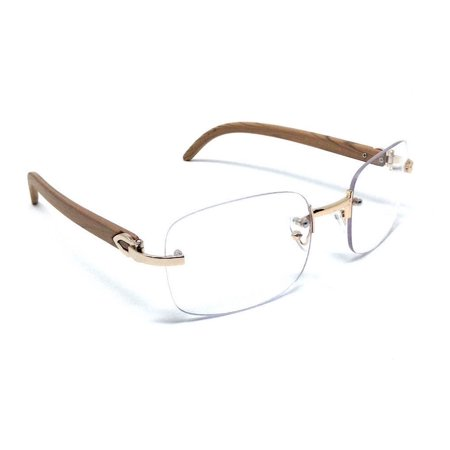 Rimless Rectangular Dapper Metal & Wood Eyeglasses Clear Lens Sunglasses Rose Gold & Light Brown Wood Frames