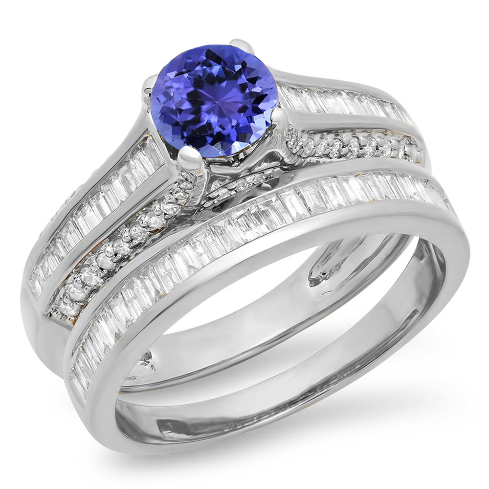 14K Gold Round & Baguette Cut Tanzanite & White Diamond Ladies Vintage Bridal Engagement Ring Set by DazzlingRock