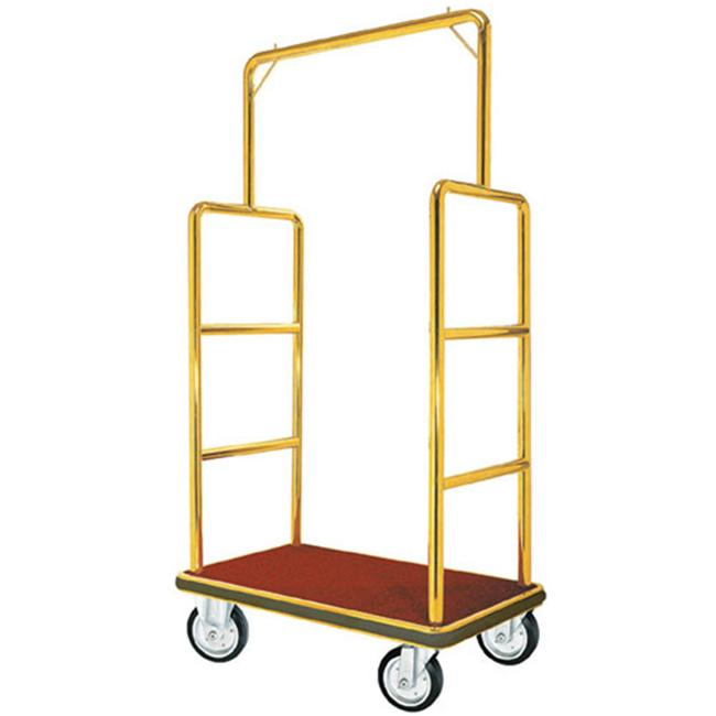 Aarco LC-1C  Bellman Luggage Cart - Chrome w/ Carpeted Bed and Hanger Rail