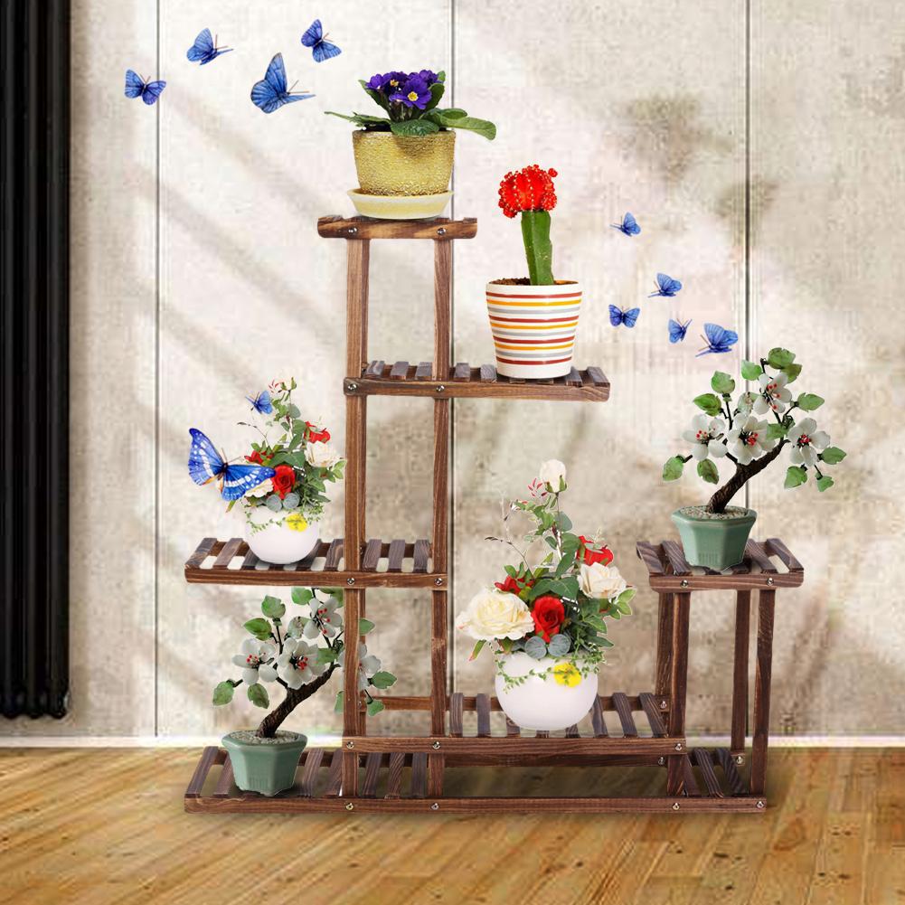 Outdoor Indoor Wooden Plant Flower Display Stand 6 Wood Shelf Storage Rack  Garden 5 Tier