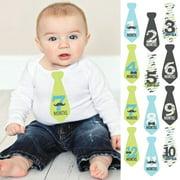 Dashing Little Man Mustache - Tie Baby Boy Monthly Stickers - Baby Shower Gift Ideas - Necktie 12 Piece