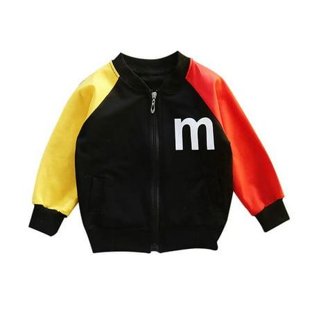 Baby Boy Outerwear Alphabet Print Casual Fashion Zipper Patchwork Color Sweatshirt Kids Coat Outfits Quilt Sweatshirt Jacket