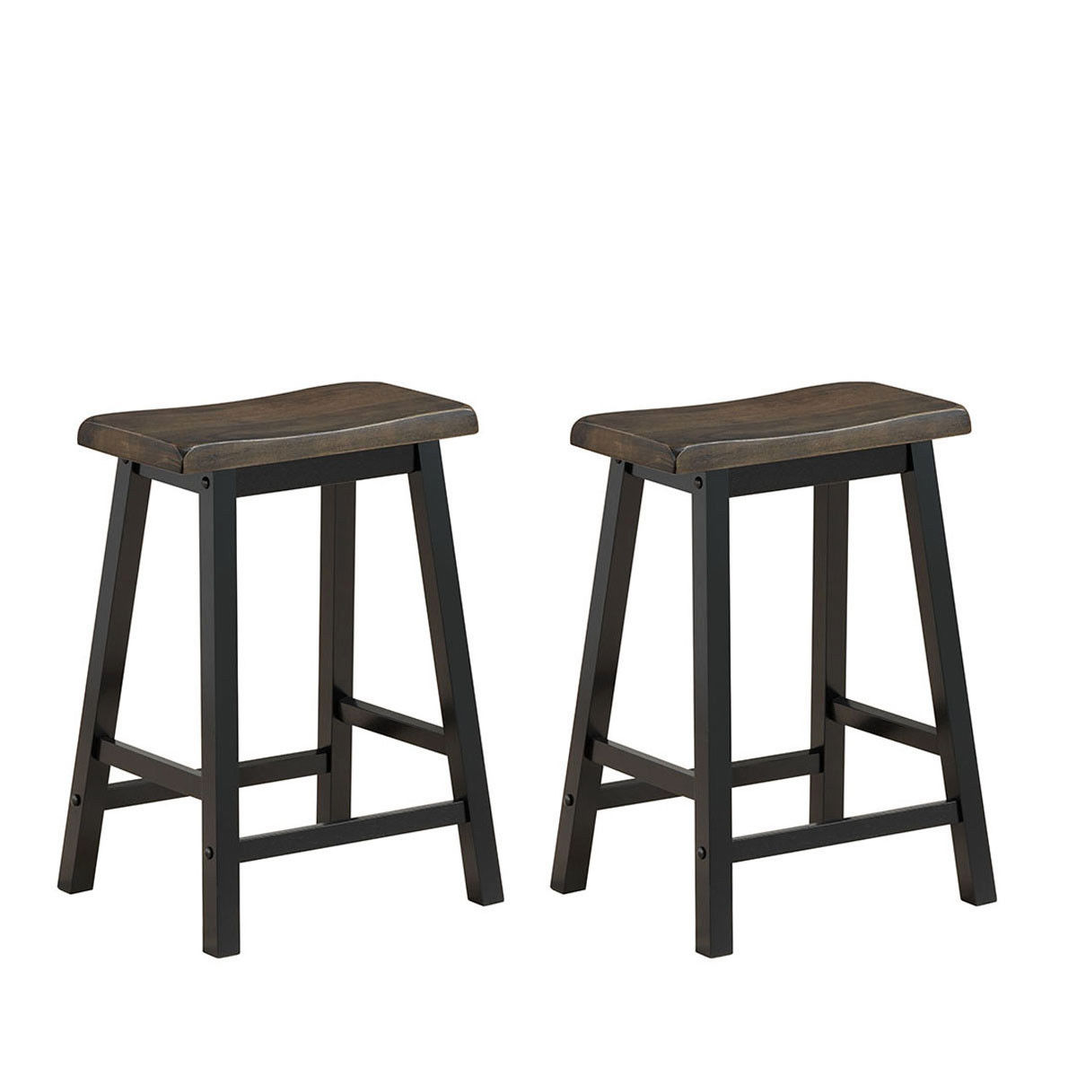 Gymax Set of 2 Bar Stools 24''H Saddle Seat Pub Chair Home Kitchen Dining Room Gray - image 6 de 6