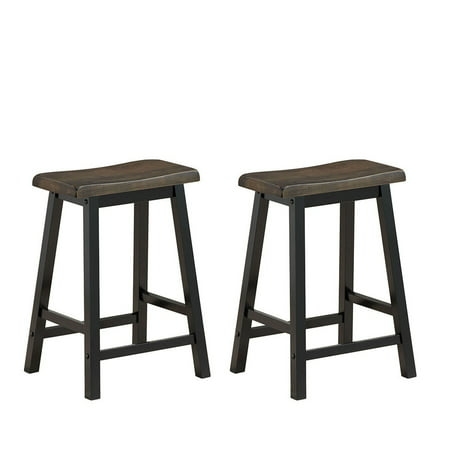 Gymax Set of 2 Bar Stools 24''H Saddle Seat Pub Chair Home Kitchen Dining Room Gray