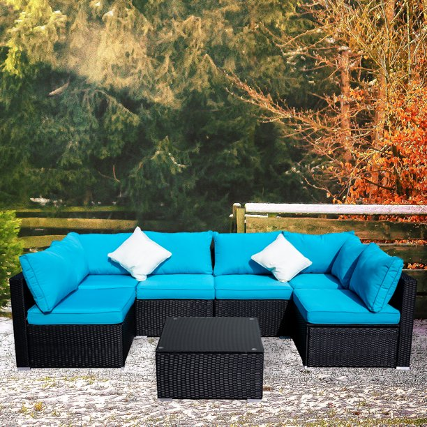 Ainfox Outdoor Patio Furniture on Clearance 7-Pieces PE Rattan Wicker Sectional Sofa Sets with Blue Pillows,Cushions+ White Pillows