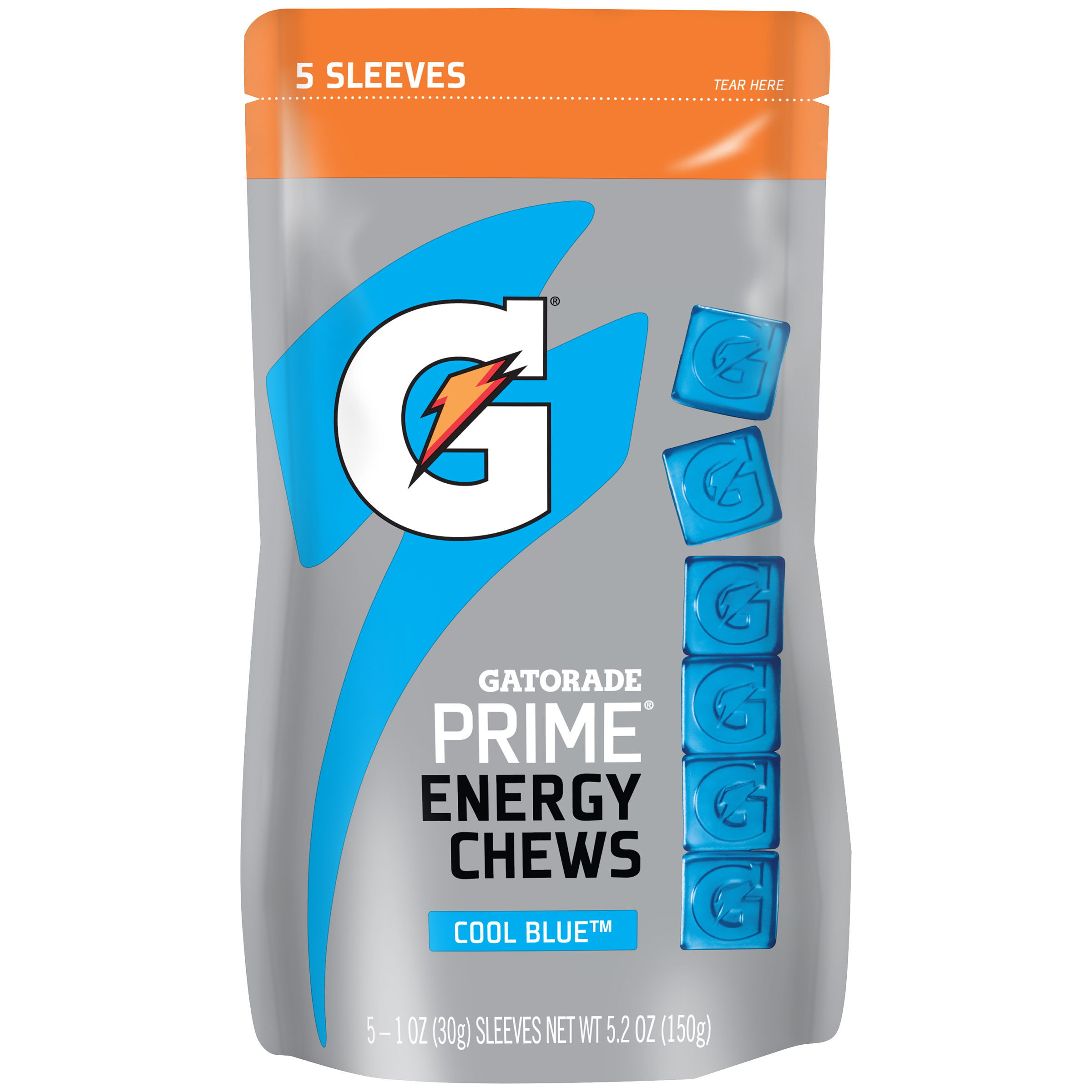 Gatorade Prime Energy Chews, Cool Blue, 1 oz Sleeves, 5 Count