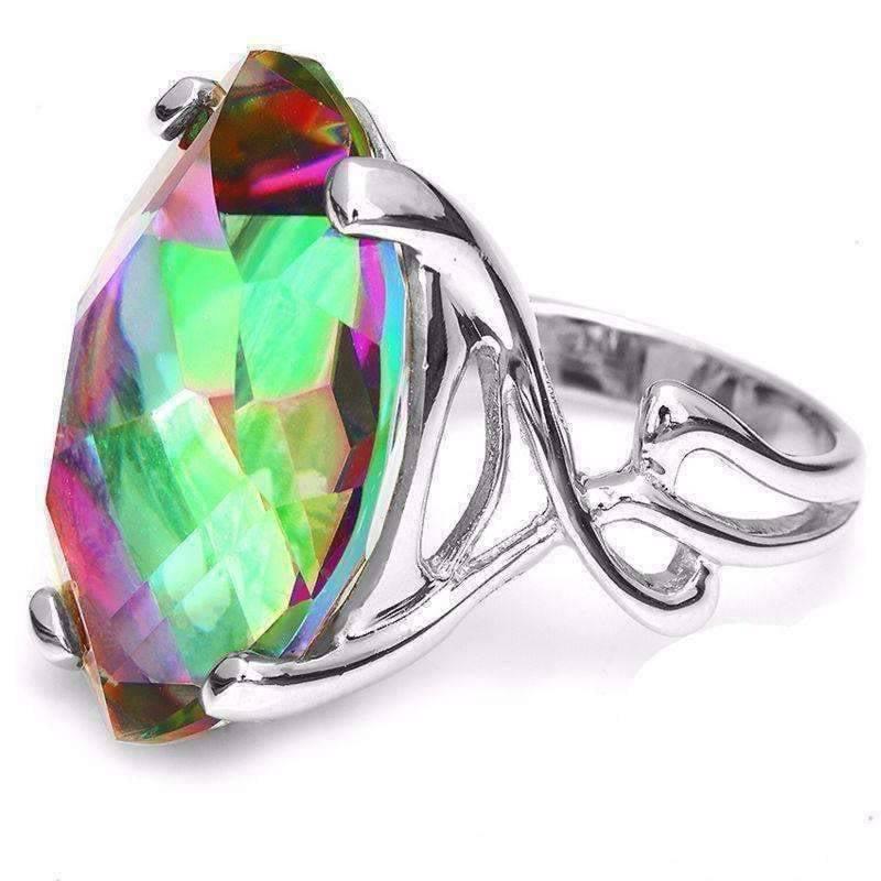 Imperial Splendor Genuine Rainbow Fire Mystic Topaz 30CT IOBI Precious Gems Ring Rainbow   9 by Feshionn IOBI