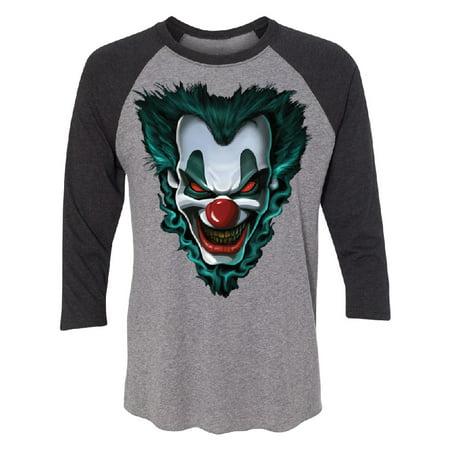 Psycho Clown Joker Face 3/4 Raglan Tee Funny Halloween 2017 Costume Jersey Black Heather / Grey X-Large (Halloween 2017 Canada)