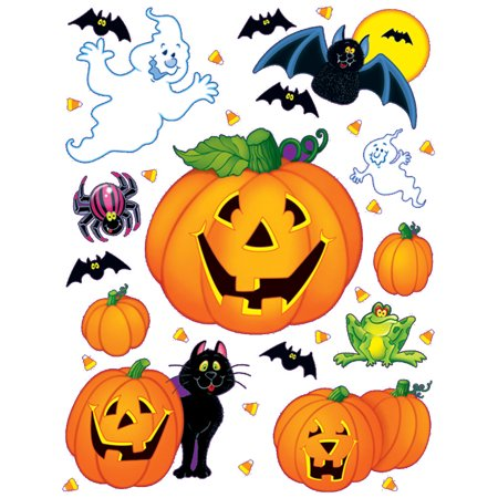 12 Count Stickers Halloween Pumpkin Patch Wall Clings Party Decoration 12-17""