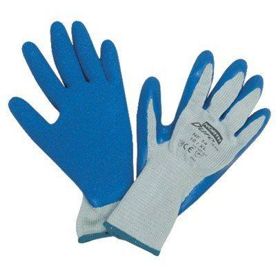 Durotask Gray Glove Cot/Poly Blue Rubber Palm