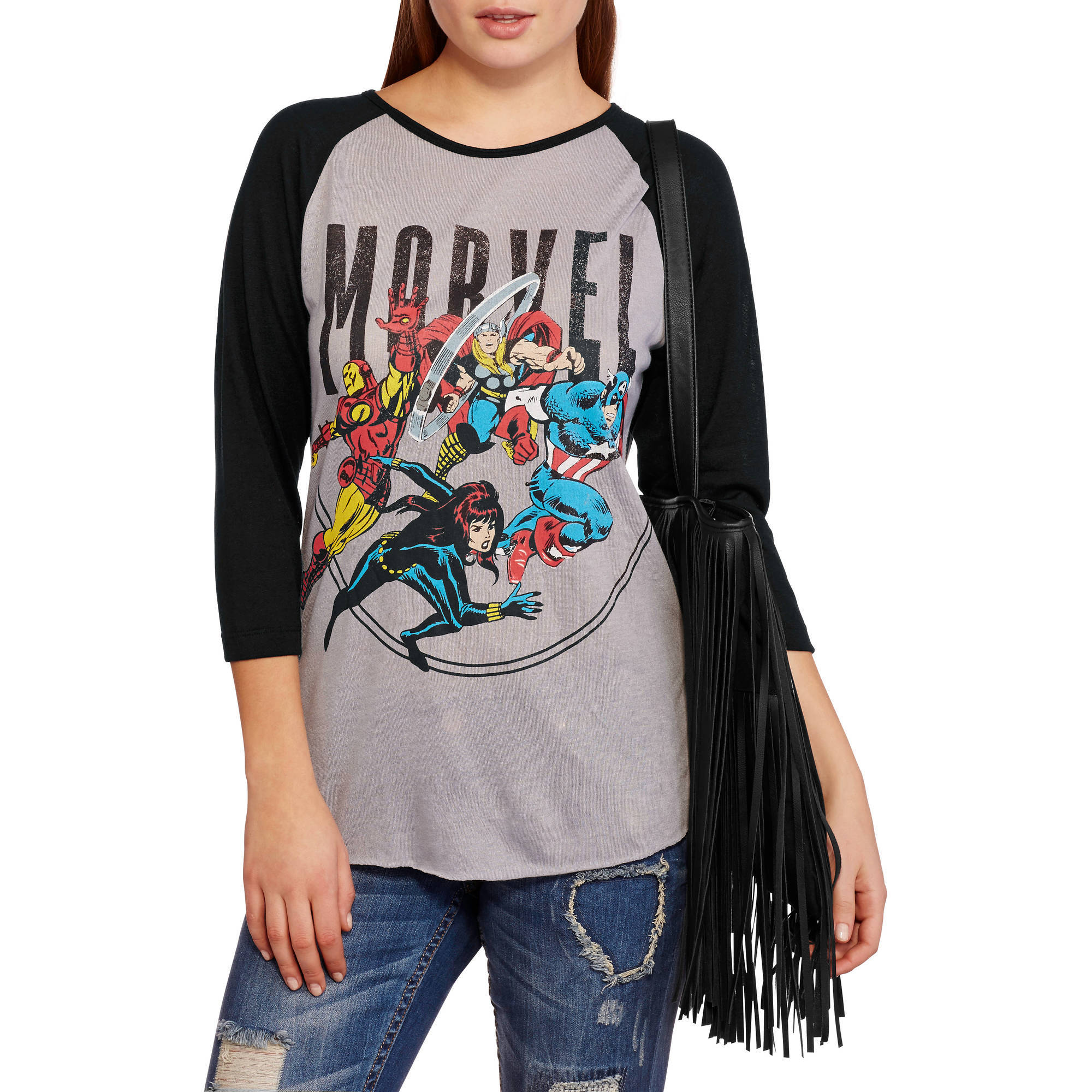 Marvel Juniors Graphic Hacci Baseball Shirt
