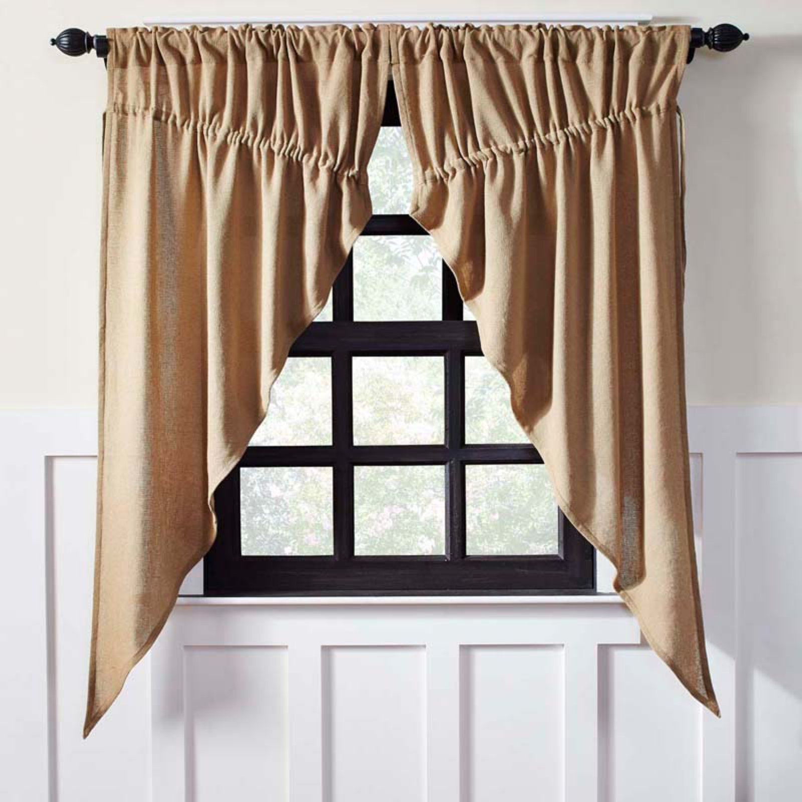 VHC Brands Burlap Prairie Curtain Set