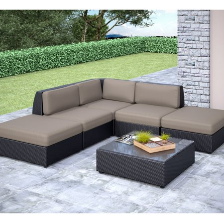 CorLiving Seattle Curved 6-Piece Chaise Lounge Sectional Patio Set