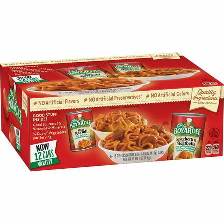 Chefs Healthy Pasta - Chef Boyardee Mini Ravioli and Spaghetti & Meatballs 12 6-15 oz. Variety 12 Pack.