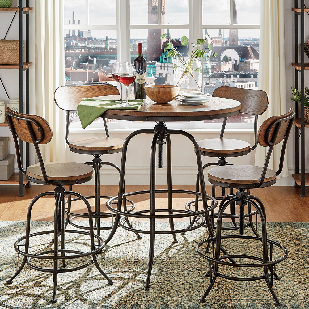 Weston Home Clayton 5 Piece Round Counter Height Dining Chairs Set