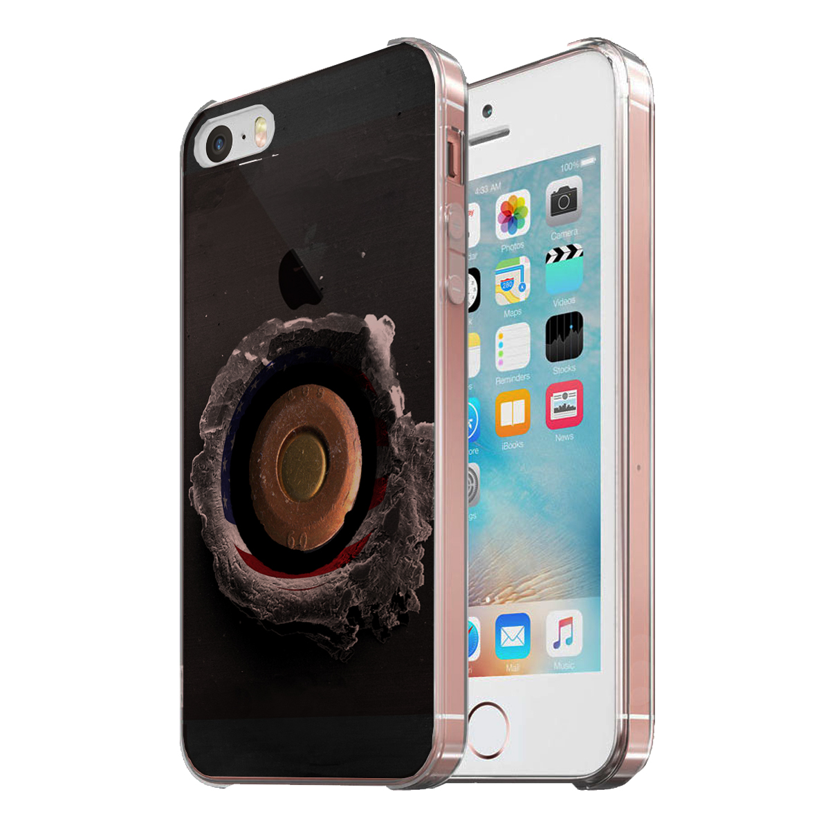 KuzmarK Clear Cover Case fits iPhone SE & iPhone 5 - American Flag Bullet Hole