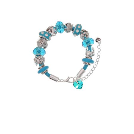 Teal Crystal Heart Hot Blue Summer Beach Bead Bracelet](Blue Bead Bracelet)