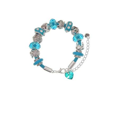 Teal Crystal Heart Hot Blue Summer Beach Bead Bracelet