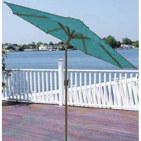 9' Outdoor Patio Market Umbrella with Hand Crank and Tilt - Turquoise (Team Umbrella)