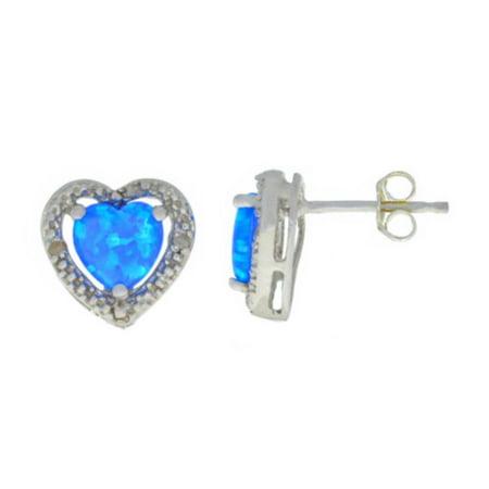 Blue Opal & Diamond Heart Stud Earrings 14Kt White