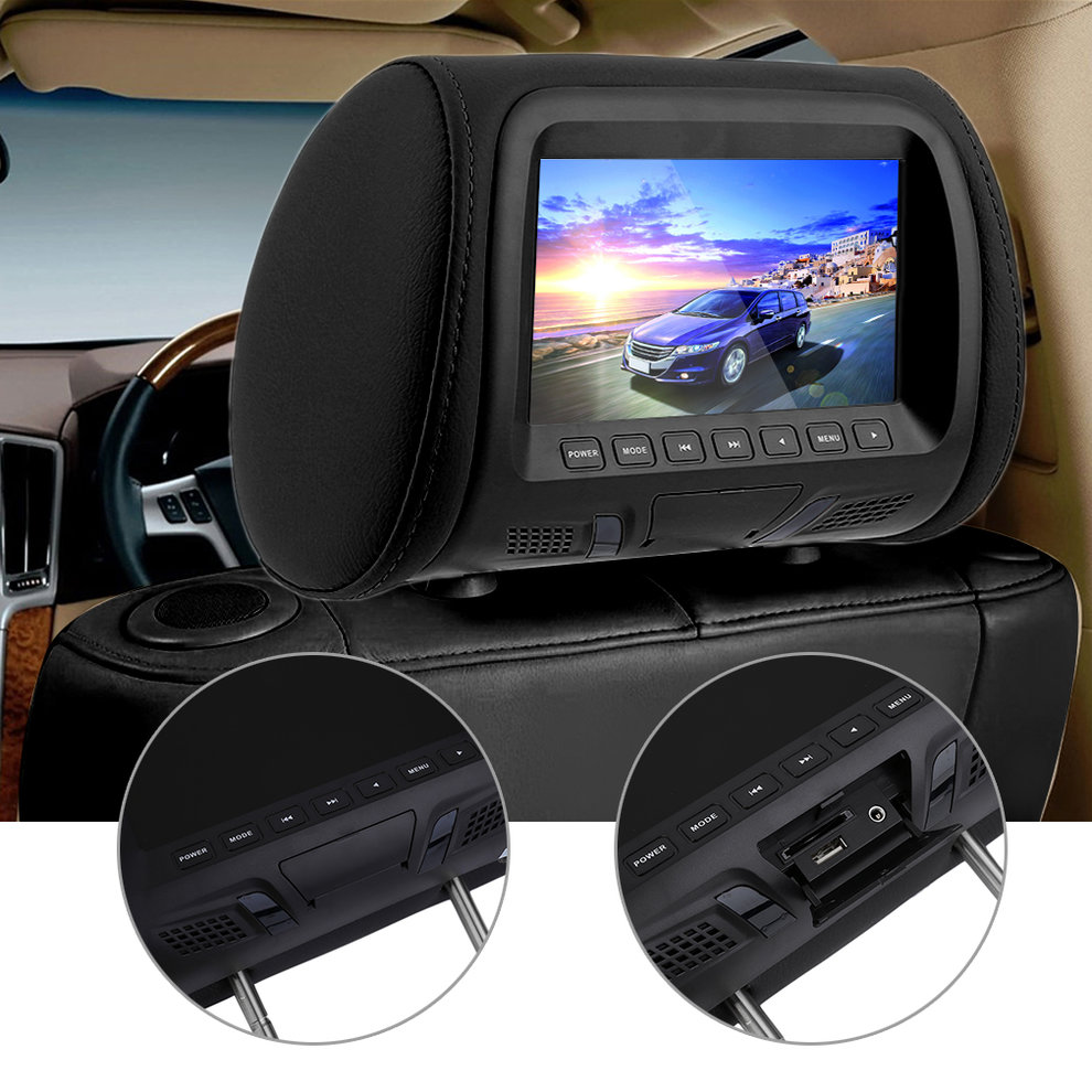 2PCS 7 Inch Car Pillow Monitor LED Digital Screen Headrest Car DVD Monitor Player Car Headrest TV Monitors With Remote Control