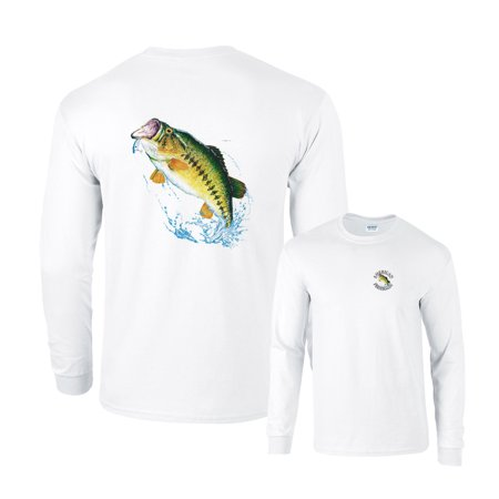 Largemouth Bass Jumping Out of Water for Lure Fishing Long Sleeve T-Shirt