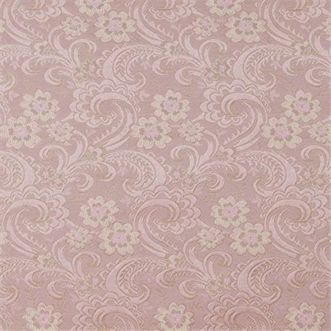 Designer Fabrics D120 54 in. Wide Gold And Pink, Paisley Floral Brocade Upholstery Fabric