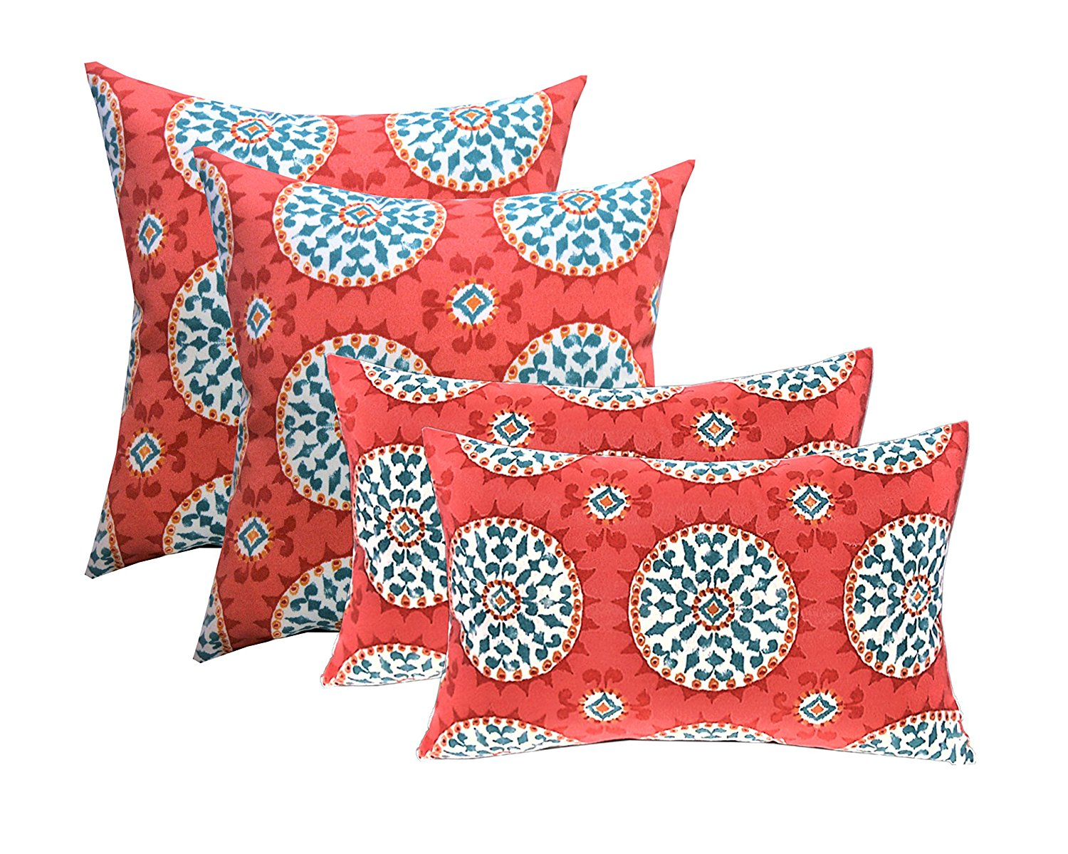 """Set of 4 Outdoor Pink Artistic Floral Pillows 17/"""" Square /& 12/"""" x 20/"""" Rectangle"""