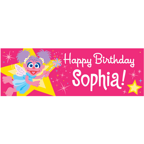 Personalized Sesame Street Abby Cadabby Birthday Banner