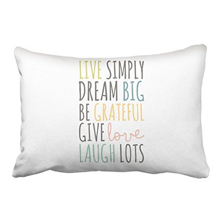 Winhome Live Simply Dream Big Be Grateful Give Love Laugh Lots Colorful Words Decorative Pillowcases With Hidden Zipper Decor Cushion Covers Two Side 20X30 Inches