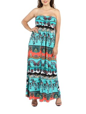 ca8c2a7087 Product Image 24Seven Comfort Apparel Bethany Strapless Green and Black  Empire Waist Plus Size Maxi D