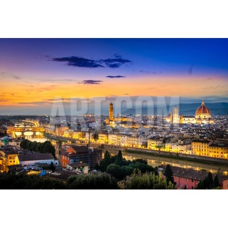 Scenic View of Florence after Sunset from Piazzale Michelangelo Print Wall Art By MartinM303 ()