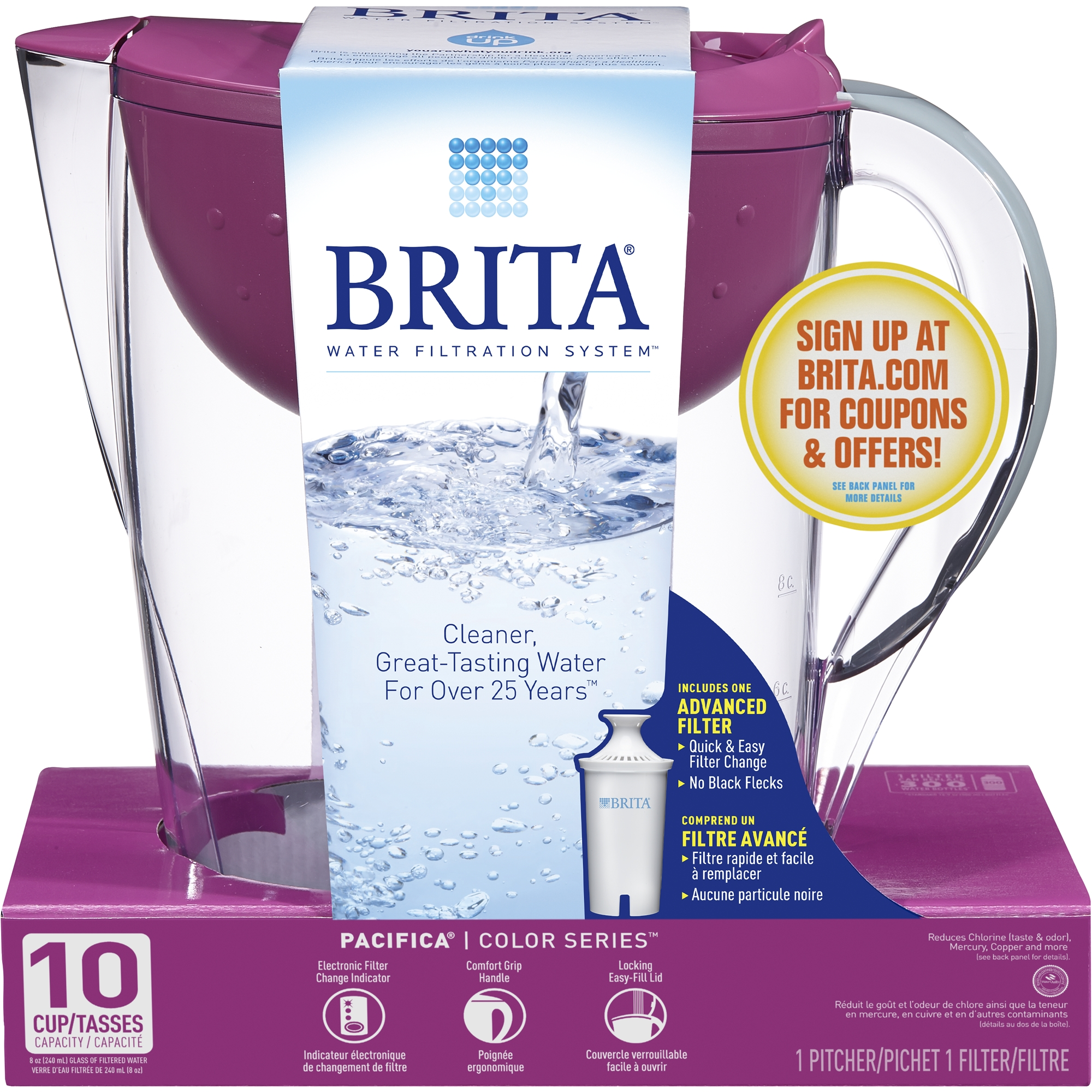 Brita Pacifica Water Filtration Pitcher with 1 Filter, 10-Cup, BPA Free, Blue