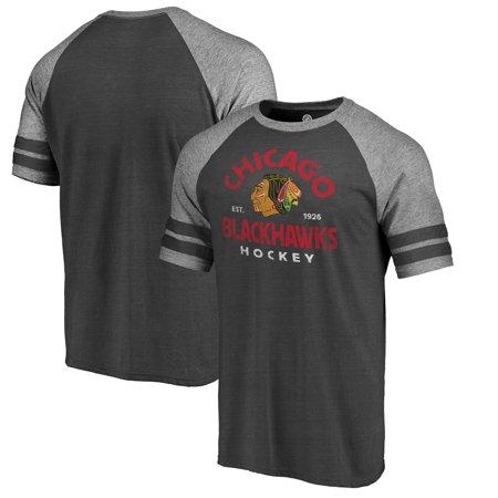 - Chicago Blackhawks Fanatics Branded Timeless Collection Vintage Arch Tri-Blend Raglan T-Shirt - Black