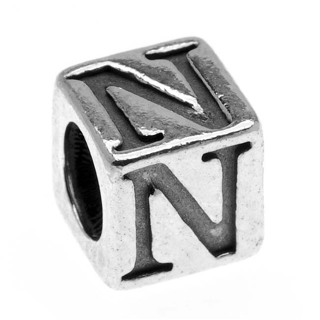 Lead-Free Pewter Alphabet Bead, Letter 'N' 5.5mm Cube, 1 Piece, Antiqued Silver
