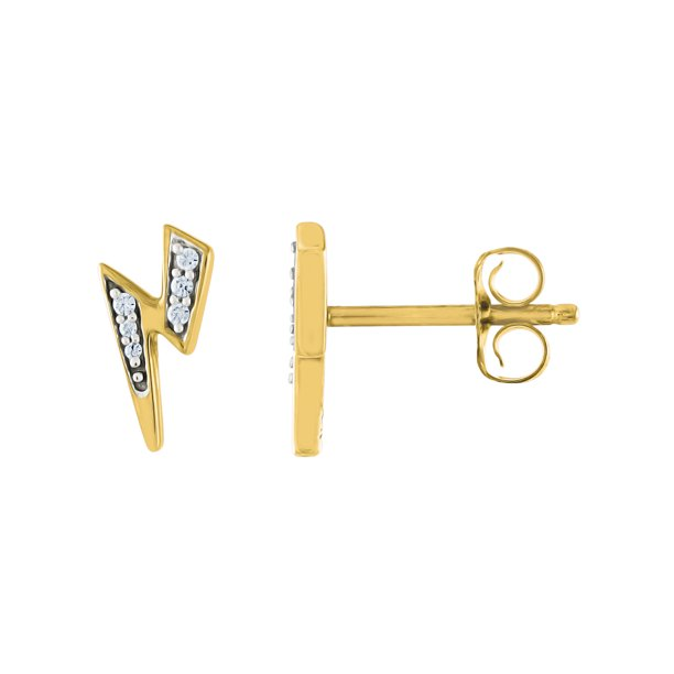 Gemspirations Brilliance Fine Jewelry Diamond Accent Dainty Lightning Bolt Stud Earrings Sterling Silver 14k Yellow Gold Plated Walmart Com Walmart Com