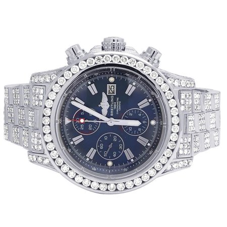 Breitling Custom Breitling A13370 Super Avenger 48MM Iced Out Diamond Watch 23.0 Ct Custom Breitling A13370 Super Avenger XL Blue 48MM S.Steel Diamond Watch 23.0 Ct