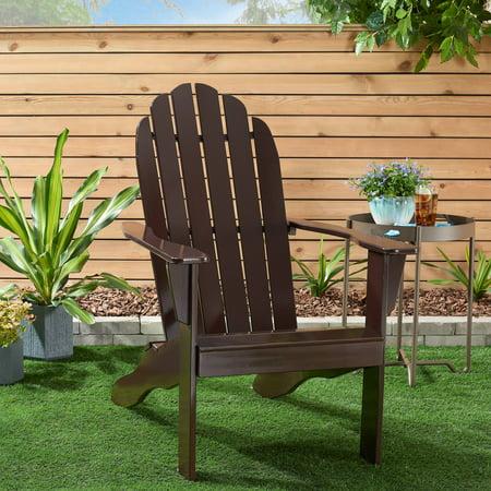 Mainstays Wooden Outdoor Adirondack Chair, Dark Brown Finish, Solid Hardwood