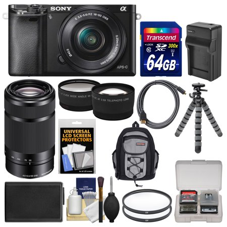 Sony Alpha A6000 Wi Fi Digital Camera   16 50Mm Lens  Black  With 55 210Mm Lens   64Gb Card   Backpack   Battery Charger   Tripod   Kit