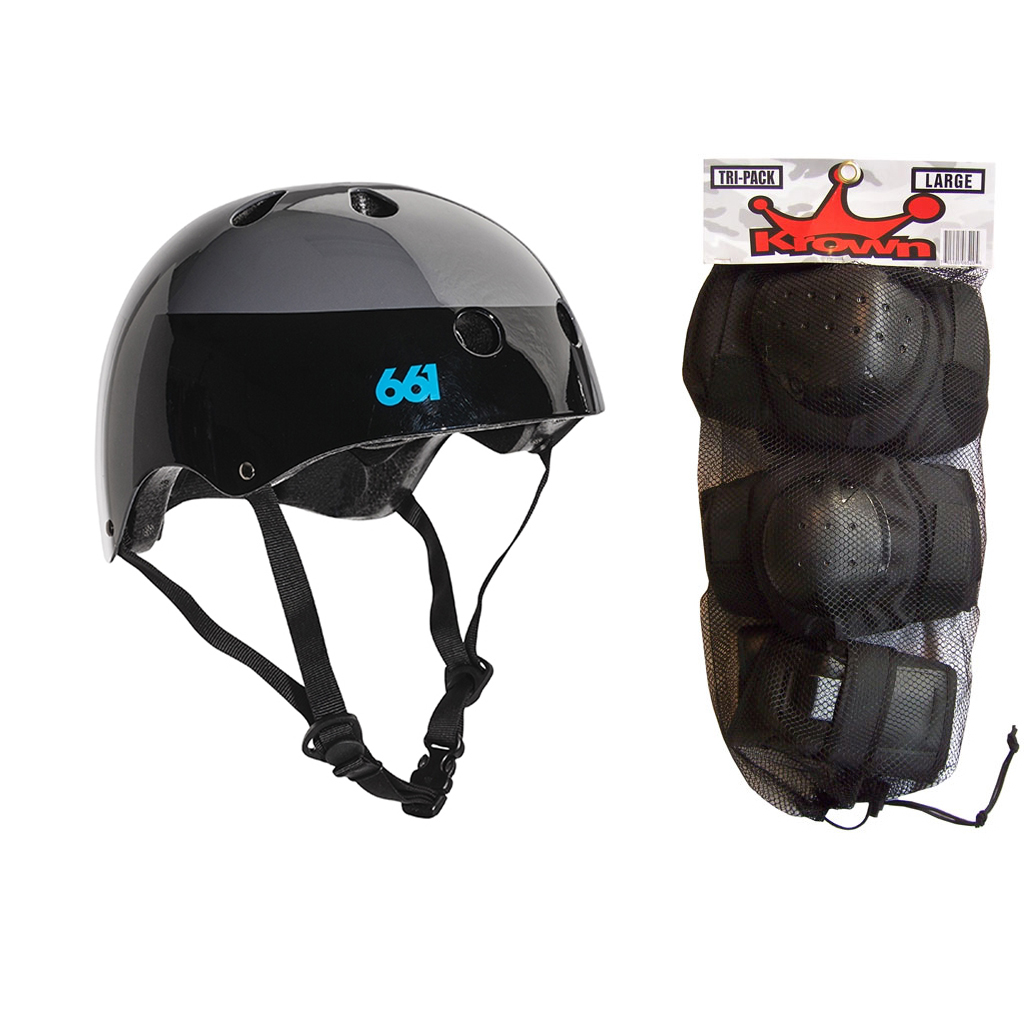 661 Dirt Lid Skateboard BMX Youth Helmet Black S/M Knee Elbow Wrist Pads