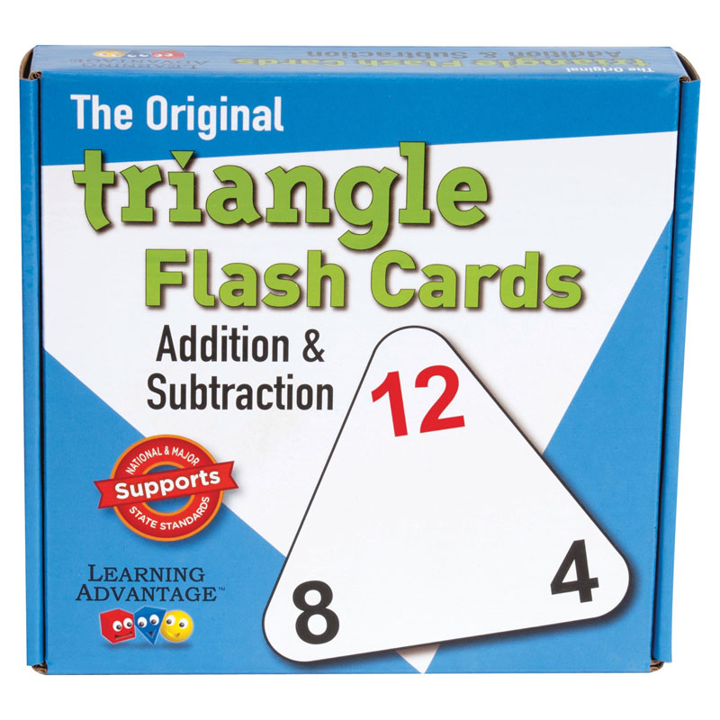 Learning Advantage 4551 The Original Triangle Flash Cards, Addition and Subtraction, Grade: Kindergarten to 4, 6.5' Height, 1.25' Width, 6.25' Length