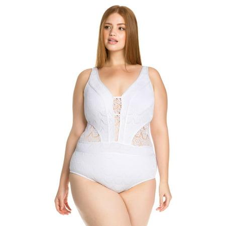c807efa26d4 Becca ETC Women s Plus Size Color Play Deep Neck One Piece Swimsuit -  Walmart.com