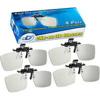 ED Cinema Clip-On 3D Glasses 4 Pack for LG 3D TVs - Adult Sized Passive Circular Polarized 3D Glasse