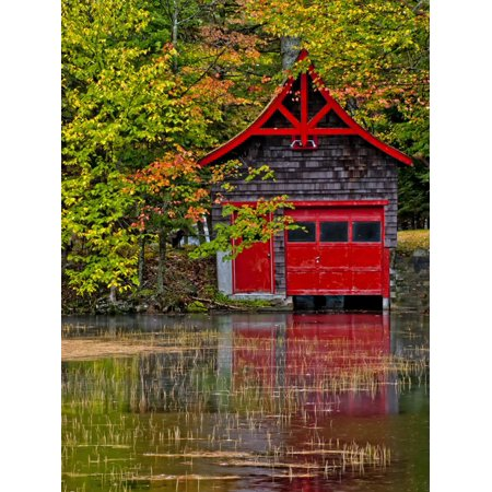 Old Forge. Red Boathouse on Lake Shore, New York, Usa Print Wall Art By Jay O'brien