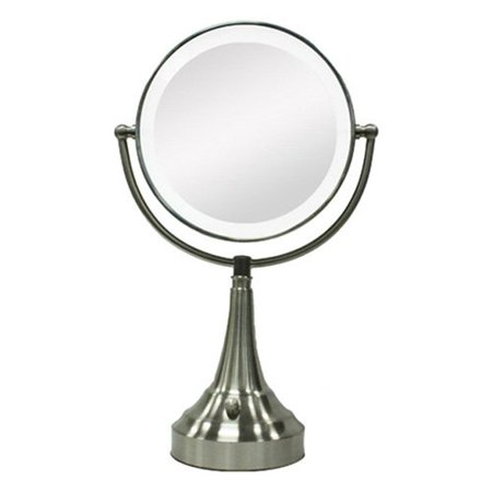 zadro led lighted 10x 1x round satin nickel vanity mirror walmart. Black Bedroom Furniture Sets. Home Design Ideas