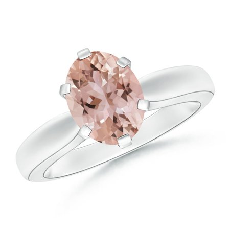 Tapered Shank Oval Solitaire Morganite Ring in 14K White Gold (9x7mm Morganite) - SR0148MG-WG-AAA-9x7-12.5